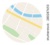 round map with river   streets... | Shutterstock . vector #280287653
