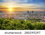 view of lyon at sunrise  france. | Shutterstock . vector #280295297
