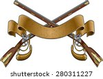 crossed flintlock muskets with