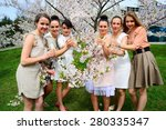 girls with glass of champagne... | Shutterstock . vector #280335347