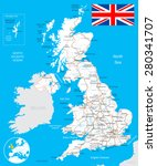 united kingdom map  flag  roads ... | Shutterstock .eps vector #280341707