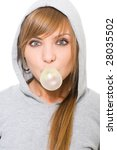 young pretty with bubble gum... | Shutterstock . vector #28035502