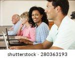 mature student in class | Shutterstock . vector #280363193