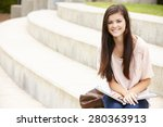 teenage student working outdoors | Shutterstock . vector #280363913
