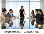 group of business people having