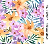 exotic seamless floral pattern. ... | Shutterstock .eps vector #280367753