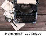 retro typewriter on wooden... | Shutterstock . vector #280420103