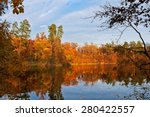 Stock photo golden autumn on the lake in the woods 280422557