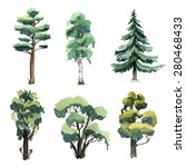 set of watercolor trees. ... | Shutterstock . vector #280468433