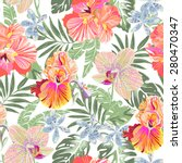 tropical orchid floral  ... | Shutterstock .eps vector #280470347