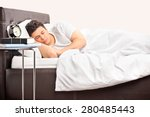 young man sleeping on a... | Shutterstock . vector #280485443