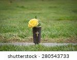 Yellow Flowers Set At Gravesid...