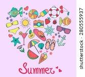 cute summer elements arranged... | Shutterstock .eps vector #280555937