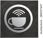 white cup of coffee and wifi... | Shutterstock .eps vector #280557647