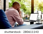 thoughtful businessman sitting... | Shutterstock . vector #280611143