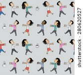 pattern with office zombies and ... | Shutterstock .eps vector #280620527
