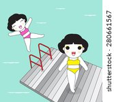 girls happy at sea beach pier... | Shutterstock .eps vector #280661567