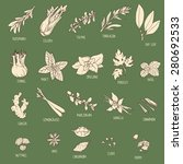 set of hand drawn spices  bay ... | Shutterstock .eps vector #280692533