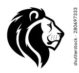 Stylized Face Of Lion Isolated...