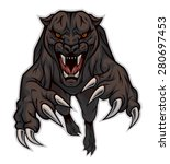 furious panther jumping at... | Shutterstock .eps vector #280697453