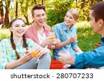 funny joke. laughing young... | Shutterstock . vector #280707233