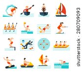 Water Sports Flat Icons Set...