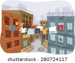 Illustration Of A Ghetto With...