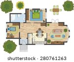 colorful floor plan of a house