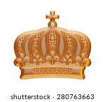 gold crown on isolated white. | Shutterstock . vector #280763663