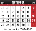 calendar for september  2016 | Shutterstock .eps vector #280764203