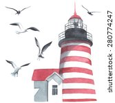 Watercolor Lighthouse And...