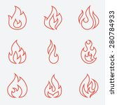 fire icons set  thin line style ... | Shutterstock .eps vector #280784933