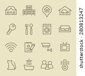 real estate line icon set