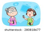 kid talk to grandma talk about... | Shutterstock .eps vector #280818677