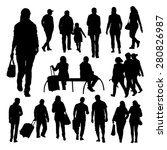 people silhouettes set | Shutterstock .eps vector #280826987