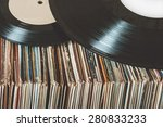 pile of old vinyl records | Shutterstock . vector #280833233