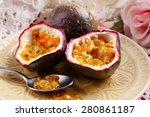 Passion Fruit On Plate On Colo...