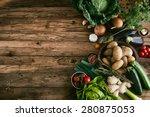Vegetables On Wood. Bio Health...