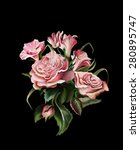 a bouquet of roses on a black... | Shutterstock . vector #280895747