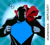 superhero tearing his shirt.... | Shutterstock .eps vector #280915697