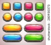 set of cartoon colorful buttons ...