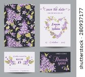 invitation or greeting card set ... | Shutterstock .eps vector #280937177