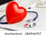 medical stethoscope and red toy ... | Shutterstock . vector #280946957