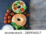 bagels sandwiches with cream... | Shutterstock . vector #280956017
