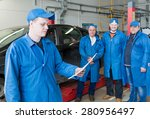 superior mechanic with group of ... | Shutterstock . vector #280956497