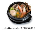 Small photo of Hae-mul-tang soup with assorted seafood & vegatable. From a series of Food Korean cuisine.