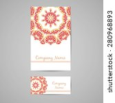 business card and booklet with... | Shutterstock .eps vector #280968893