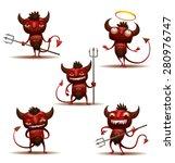 little red devils set  vector | Shutterstock .eps vector #280976747