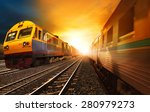 passenger trains and industry... | Shutterstock . vector #280979273