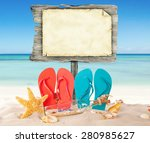 summer beach with colored... | Shutterstock . vector #280985627